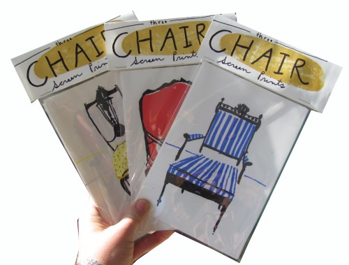 "Elizabeth Graeber, ""Chair"", Set of 3 Screen Prints"