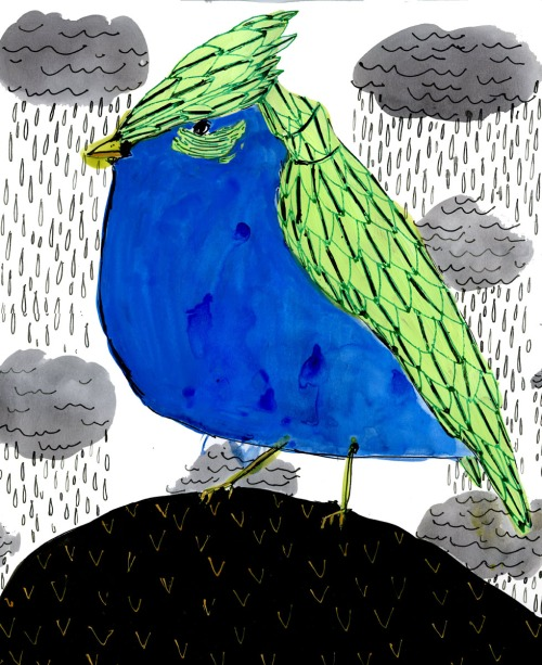"Elizabeth Graeber, ""Blue Bird with Rain Clouds,"" Ink and Watercolor"