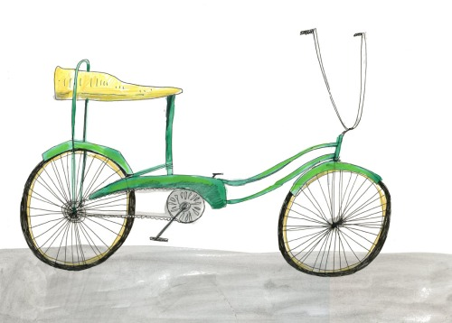 "Elizabeth Graeber, ""Green Bike Banana Seat,"" Ink and Watercolor"