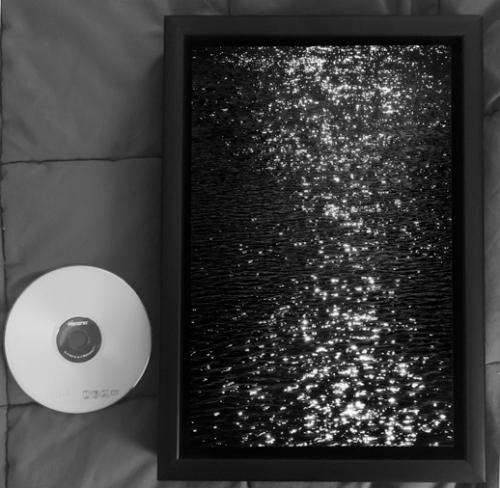 "Jerome Skiscim, Untitled, Black and White Aluminum Print with Soundtrack, 12"" x 8"""