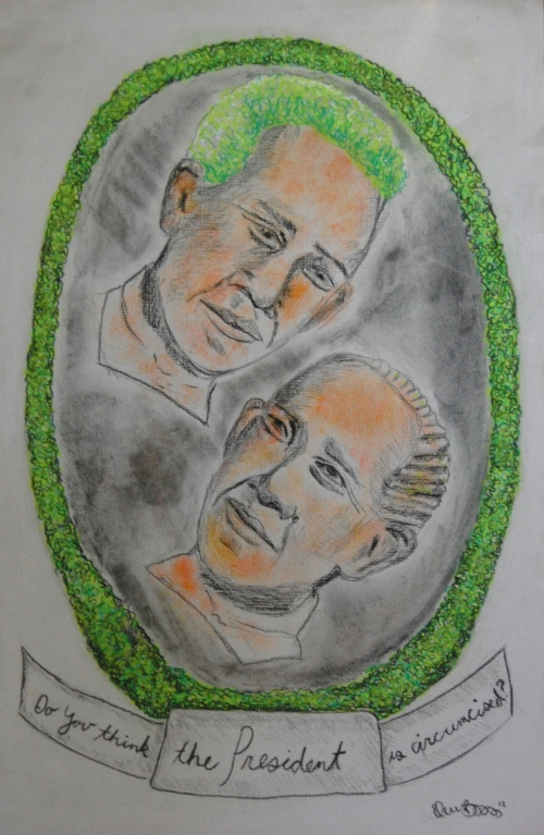 "Eleanor Barba, ""Two Obama Chia Pets Look Longingly at Each Other,"" Charcoal and Pastel, 18"" x 12"""