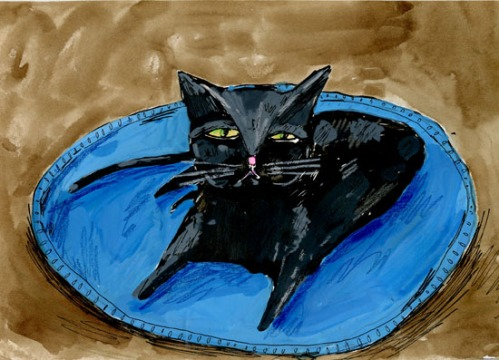 "Elizabeth Graeber, ""Black Cat,"" Ink and Watercolor on Paper"
