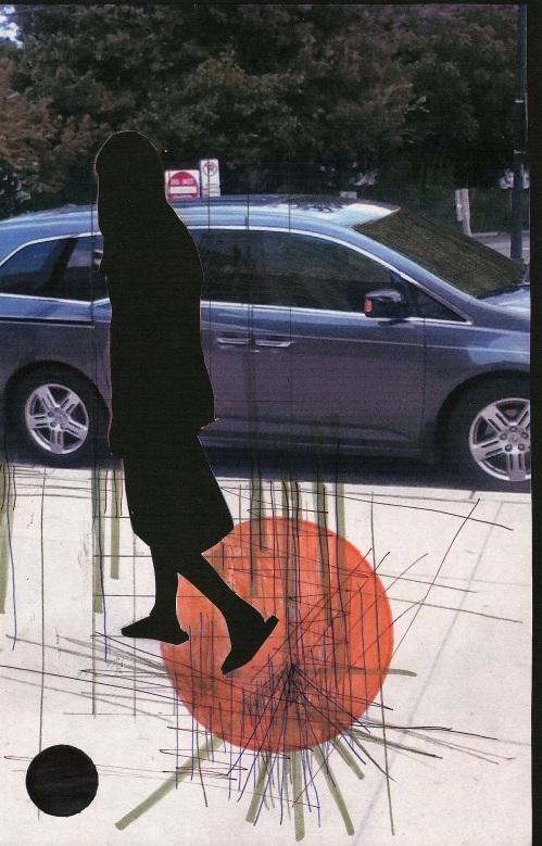"Amy Braden, ""Posture,"" 11"" x 7"", Mixed Media Collage"