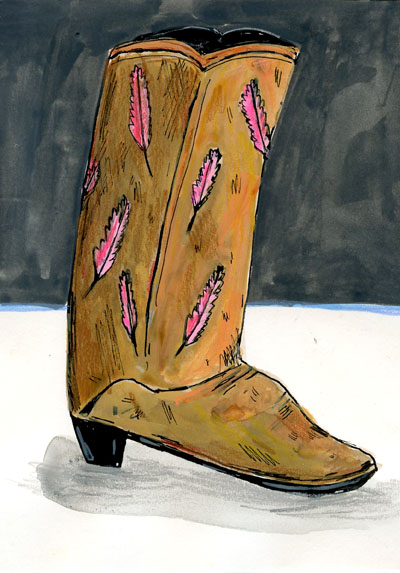 "Elizabeth Graeber, ""Cowboy Boot,"" Ink and Watercolor on Paper"