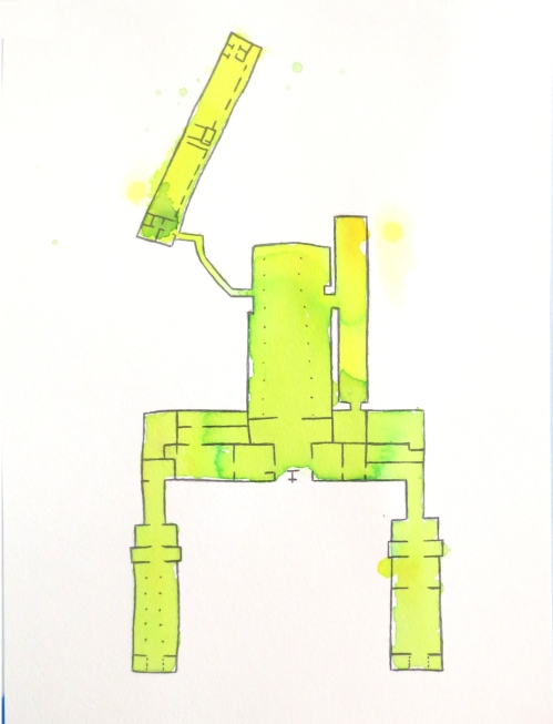 "Megan Mueller, ""Floor Plan,""  Watercolor and Pencil on Paper, 11"" x 8"""