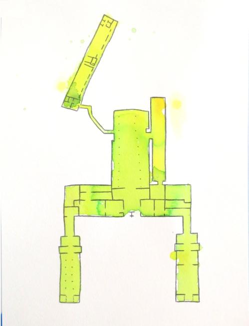 "Megan Mueller, ""Floor Plan,""  Watercolor and Pencil on Paper, 11"" x 8"""