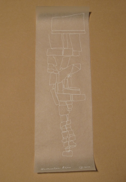 """Kendall Nordin, Conversation series #3,011, 15 """" x 4.5"""", Ink on Tracing Paper"""