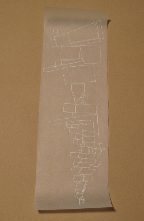 "Kendall Nordin, Conversation series #4,332, 15"" x 4.5"", Ink on Tracing Paper"