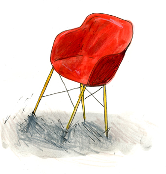 """Elizabeth Graeber, """"Red Chair,"""" Ink and watercolor on paper"""