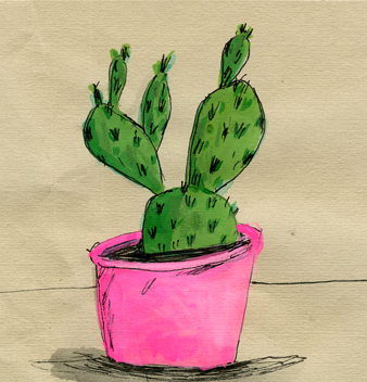 """Elizabeth Graber, """"Small Cactus,"""" Ink and watercolor on paper"""