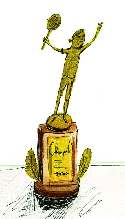 "Elizabeth Graeber, ""Gold Trophy,"" Ink and watercolor on paper"