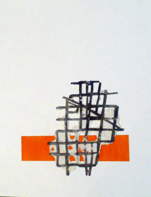 "Megan Mueller, ""Grid Study,"" Cut paper, paint, and paper pulp on watercolor paper, 9"" x 11.5"""