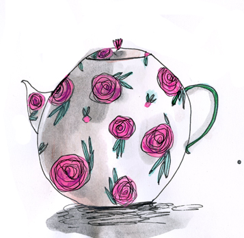 "Elizabeth Graeber, ""Rose Teapot,"" Ink and watercolor on paper"