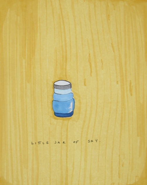 "Kendall Nordin, ""Little Jar of Sky,"" Ink on paper, 7"" x 5 1/2"""
