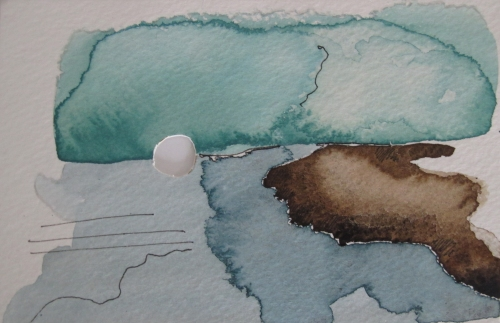 "Kendall Nordin, Untitled, Watercolor, ink, and hole on paper, 4"" x 6"""