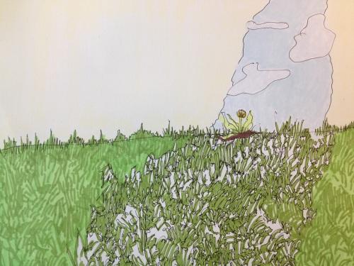 "Kendal Nordin, Untitled, Ink on card, 5.5"" x 7.5"""