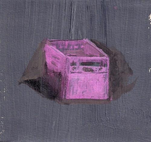 "Becca Kallem, ""Pink Crate,"" Gouache on paper"