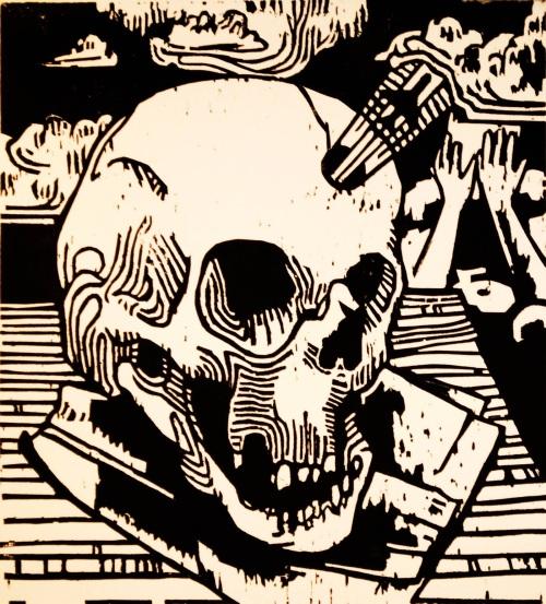 "Duncan Ford, ""Skull,"" Woodblock print, 5 1/2"" x 6"""