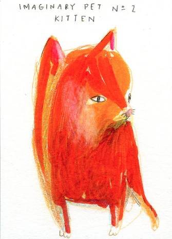 "Dasha Tolstikova, ""Imaginary Pet No. 2, Kitten"" Colored pencil and marker on paper, 2 1/2"" x 3 1/2"""