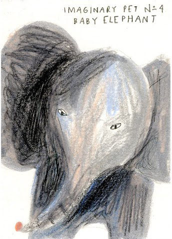 "Dasha Tolstikova, ""Imaginary Pet No. 4, Baby Elephant,"" Graphite, colored pencil, and marker on paper, 2 1/2"" x 3 1/2"""