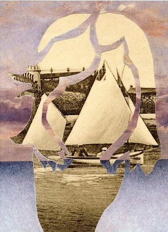 "Rachel England, ""At Sea,"" Collage, 2 1/2"" x 3 1/2"""
