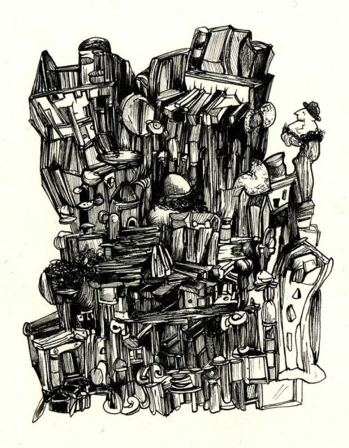 "Dana Maier, ""The City of Pianos and Angels Revisited,"" Pen and ink on paper"