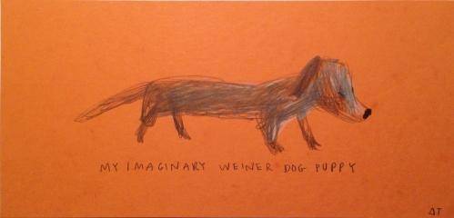"Dasha Tolstikova, ""Imaginary Weiner Dog Puppy,"" Colored pencil on paper"