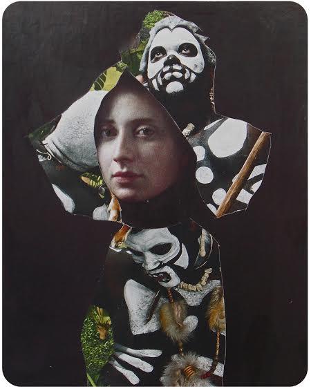 "Rachel England, ""Cross-pollinate,"" Cut paper collage, 6"" x 10"""