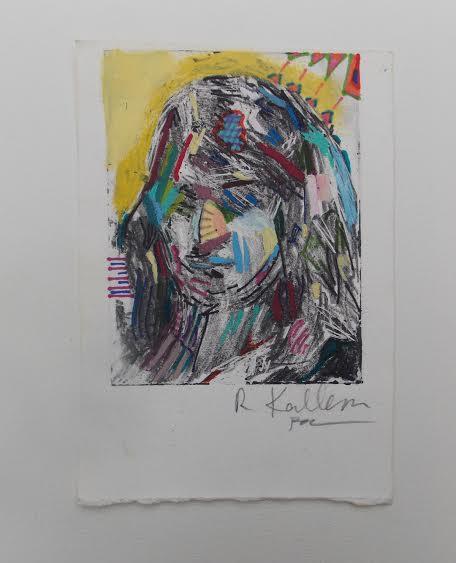 "Rachel England, ""Collaboration with Becca Kallem,"" Acrylic and sharpie, 3"" x 5"""