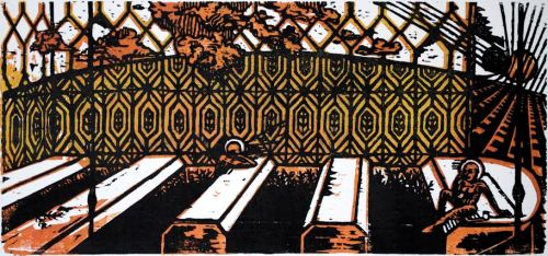 "Woodcut print by Duncan Ford. 12""x5.5."""