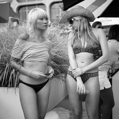 """Pool party, Capitol Skyline Hotel, 2010"", digital black & white print from scanned negative"