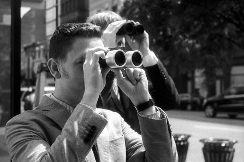 """Binoculars, Leica Store, 2012"", digital black & white print from scanned negative"
