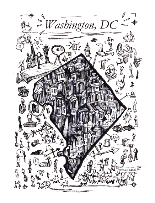 Washington DC Map, pen and ink