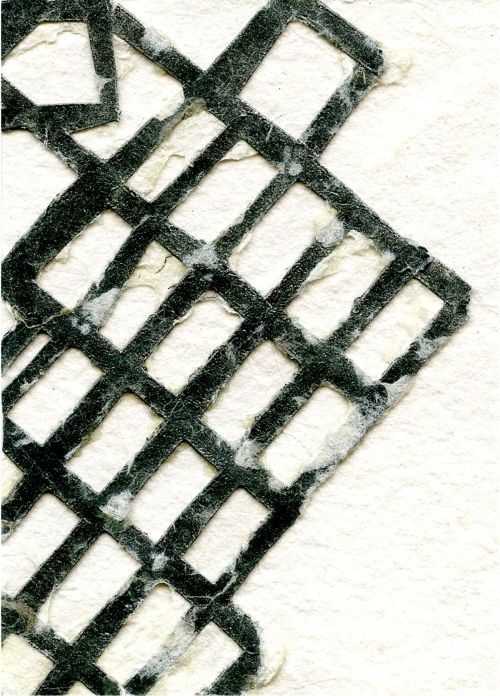 """Megan Mueller, """"Soft Grid 1,"""" Spray paint and pulp on cut paper"""