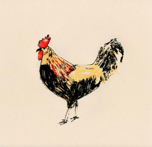 """Elizabeth Graeber, """"Rooster,"""" Screenprint"""