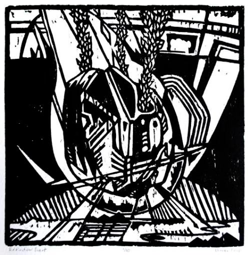 """Duncan Ford, """"Extinction Event 1,"""" Woodblock print, 5 1/2 x 5 1/2 inches"""