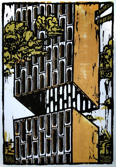 "Duncan Ford, ""Architecture 1,"" Woodblock print, 8 x 5 1/2 inches"