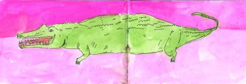 Alligator, Watercolor in sketchbook