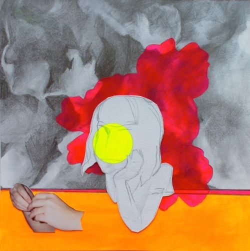 "Amy Hughes Braden, ""Hands Free,"" Graphite, acrylic and collage on paper, 7 x 7 inches"