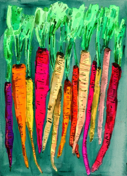 Rainbow Carrots, Watercolor painting on 10 1/4th  by 14 1/8th paper