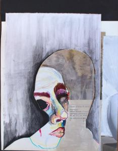 "Amy Hughes Braden, ""Literature,"" Acrylic, colored pencil, and collage on board"