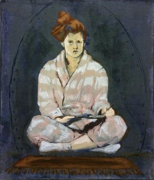 Self-portrait, acrylic on paper board, 5.5x6.5