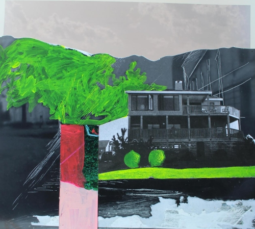 "Amy Hughes Braden, ""Two Bushes (Two Doves),"" Acrylic and collage on found photographs, 10 x 9.5 inches, 2015"