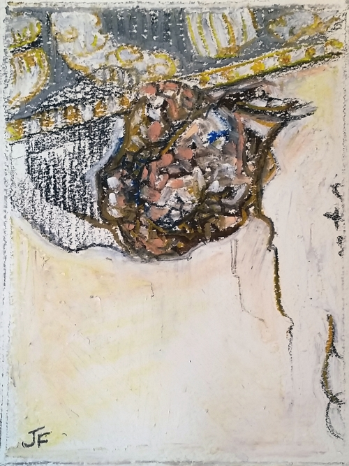 "Jessica Ford, ""Souvenir,"" Charcoal and oil pastel on paper, 6 x 4.5 inches"