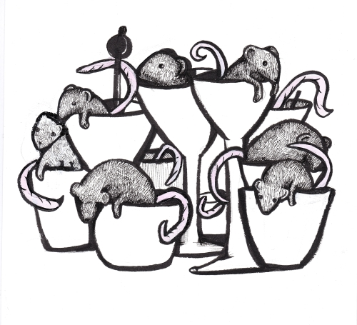 "Dana Maier, ""Mice in Cups,"" Ink on paper, 8 x 8 inches"